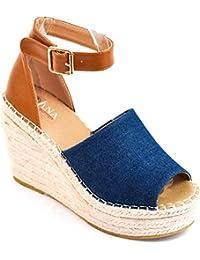 4d20b2e2653 Zapatos Sandalias con tacón Plataforma Alta Tira Atado al Tobillo Ante  Antelina