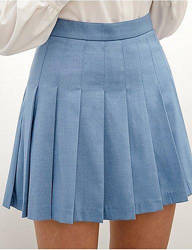 DESY Damen Ausgehen Lässig/Alltäglich Über dem Knie Röcke A-Linie einfarbig Sommer Blue