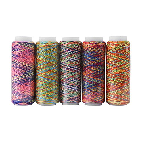 Multicolor Thread Set, 5 Spulen von Polyester Thread Yard, veränderte Polyester Manuelle Maschine Stickerei Nähgarn 110m / 120 Yard