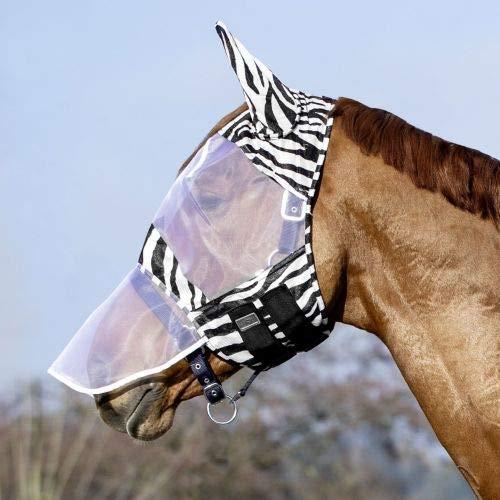 United Sportproducts Germany USG Fliegenmaske, mit Ohrenschutz im Zebra Look (Vollblut)