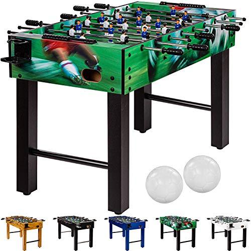 """Maxstore Tischfussball \""""Glasgow\"""", 5 Dekore: Holz/Schwarz/Blau/Soccer/Weiß, inkl. 2 Bälle, 2 Getränkehalter, höhenverstellbare Füße, hochgezogene Spielfeldecken, Tischkicker, Kicker, Kickertisch"""