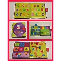 QUIET BOOK VERDE - Libro sensorial con 4,6 ó 8 actividades. Se personaliza con el nombre.Hecho a mano.