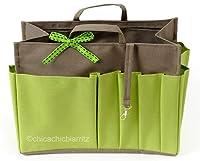 Handbag Organiser - Handbag Insert - Bag Organiser - L Light Brown/Green - Width 9.4