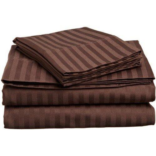 Dreamz Betten 650Fadenzahl Spannbetttuch (Deep Pocket: 76,2cm) mit 2Kissen Kaiser, Schokolade/Braun gestreift, 650tc 100% Baumwolle extra tief Pocket Unterseite Tabelle -