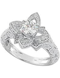 Ladies Ring- Lotus Flower Style Genuine 925 Sterling Silver Unique Solitaire Engagement Ring