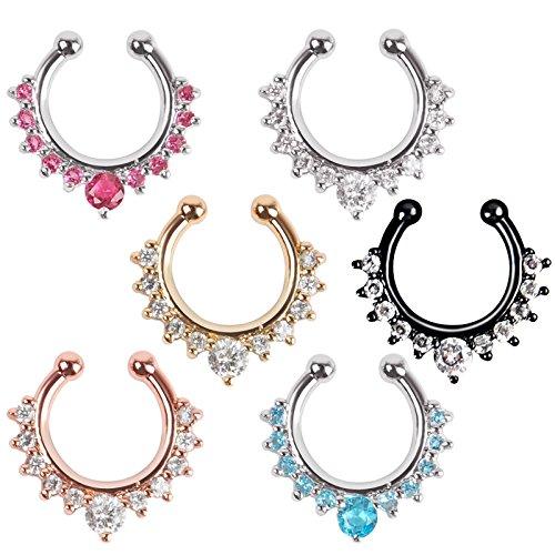 richbest Fake Septum Kristall Clicker Fake Nasenpiercing Ring Piercing Faux Body Jewelry Hoop für Frauen Septum