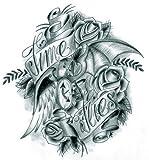 Wonbeauty Halloween temporäre Tattoos für Männer und Frauen schwarzen und