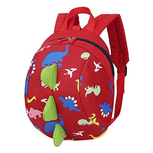 Trada Kindergartentasche, Baby Jungen Mädchen Kinder Dinosaurier Muster Tiere Rucksack Kleinkind Schultasche/Wickelrucksack mit Sicherheitsleinen für Babys/Rucksäcke für Kleine Kinder (Rot)