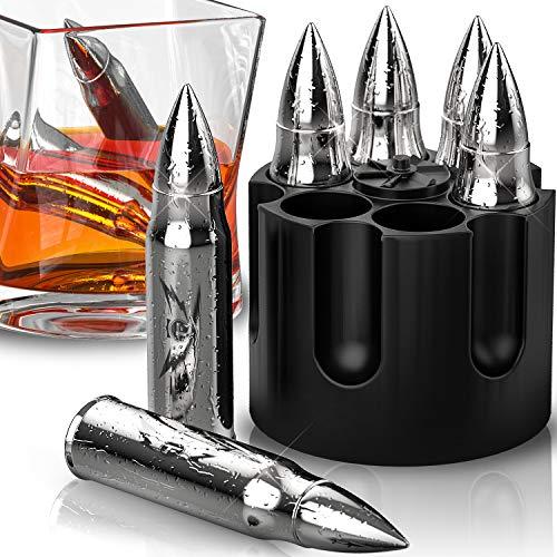 Wiederverwendbare Whiskeysteine in Kugelform, 6 Stück Edelstahl Eiswürfel zum Chilling von Bourbon, Scotch in Ihrem Whiskyglas - coole Geschenke für Männer zum Vatertag oder Weihnachten