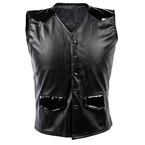 BSLINGERIE® Herren Steampunk Gothic Faux Leather Kostüm Korsett Weste (XXL, Schwarz) (Weste Korsett)