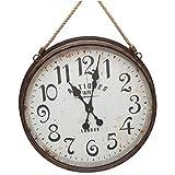 Grande orologio gigante rotonda pendolo vintage stile brocante in ferro vetro e corda 7x 46,50X 80Cm