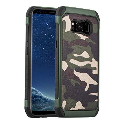 JAMMYLIZARD Camouflage Hülle für Samsung Galaxy S8 | Outdoor-Schutzhülle [Army HD] Military Case aus Silikon und Leder mit Tarnmuster, Grün