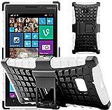 G-Shield Nokia Lumia 930 Hülle Silikon mit Ständer Stoßfest Schutzhülle Dünn Tasche Hybrid Armor Cover Case Etui Handyhülle mit Displayschutzfolie und Stylus - Weiß