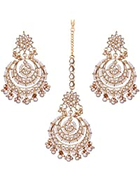 Peora Traditional Jewellery 18K Gold Plated Kundan & Pearl Maang Tikka Earring Set for Women Girls