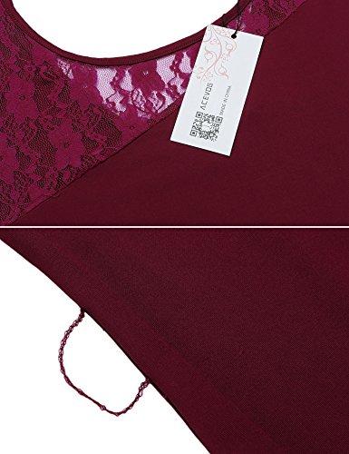 ACEVOG Damen Rückenfrei Sommerkleid Minikleid Casual Ärmellos Spitzenkleid Trägerkleid Partykleid mit Gürtel Weinrot