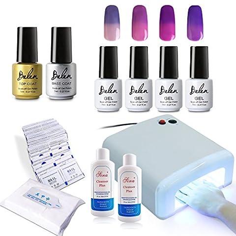 Gel Starter Kit,Belen 4PCS Color Changing Gel Polish Soak Off