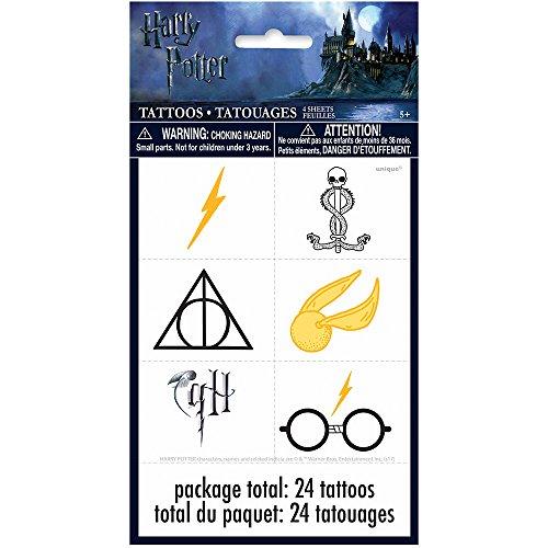 Hojas de tatuajes para fiestas de Harry Potter [4 hojas por paquete]