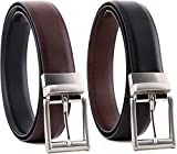 #8: HT Collections Men's Black and Brown Reversible Leather Belt (HTCB_Cronas)