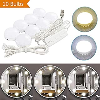 LED Vanity Mirror Lights Kit, Makeup Mirror Light 10 Led Bulbs,DIY Dressing Table Vanity Set Mirrors with Dimmer and USB Powered, 3 Light Source Lighting Fixture Strip