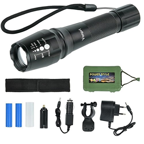 Linterna LED con 2 Baterías y Cargador UE, Vonpri Linterna Táctica con Set de Accesorios, 5 Modos Zoomable LED Flashlight T6 para Ciclismo,Camping, Montañismo