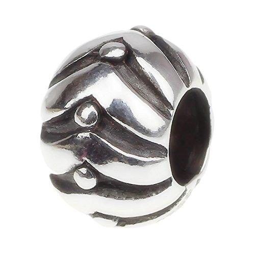 Hunter charm. Distanziale similperle Charm Sterling-argento 925 motivo floreale per braccialetti nodo, Argento, colore: flowing dot, cod. CXFSB114 - Sterling Silver Dot Design