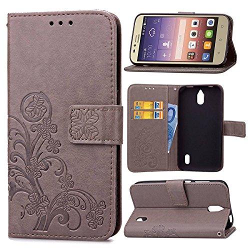 Guran® PU Ledertasche Case für Huawei Y625 Smartphone Flip Cover Brieftasche und Stent Funktionen Hülle Glücksklee Muster Design Schutzhülle - Grau