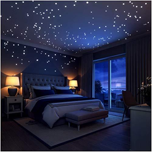 In den dunklen Sternen ist die Wand beleuchtet,WOWOSS 253 Stücke Mond leuchtende Decke Decals für...