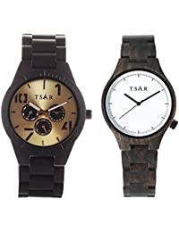 TSAR Wooden Gold and White Dial Wood Watch- Couple's Tri Modern and Sestina Snow