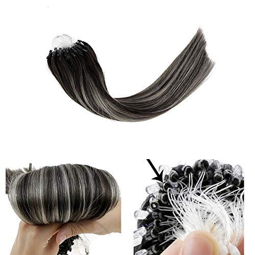 Laavoo 14pollice/35cm extension capelli veri nero con silver naturale lisci micro loop fusion hair liscio 50 filo per pacchetto 50g