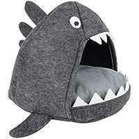 RM E-Commerce Katzenhöhle/Katzenkorb Hai in anthrazit inkl. weichem Kissen zum Schlafen und Kuscheln
