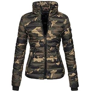 Marikoo Damen Jacke Steppjacke Übergangsjacke gesteppt mit Kordeln Frühjahr Camouflage B405