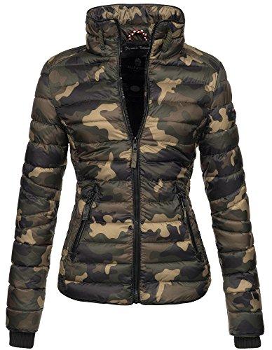 Marikoo Damen Jacke Steppjacke Übergangsjacke gesteppt mit Kordeln Frühjahr Camouflage B405 [B405-Lola-Camo-Gr.XL]