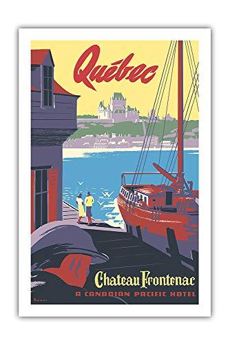 Pacifica Island Art - Schloss Frontenac - Quebec, Kanada - Canadian Pacific Hotel - Retro Weltreise Plakat von Peter Ewart c.1947 - Giclée Kunstdruck 61 x 91 cm - Canadian Pacific Hotel