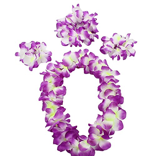 Vertvie Hawaii-Blumen-Set hawaiianischen Hula-Kostüm-Tanz-Kostüm für Kinder (One Size, Lila)