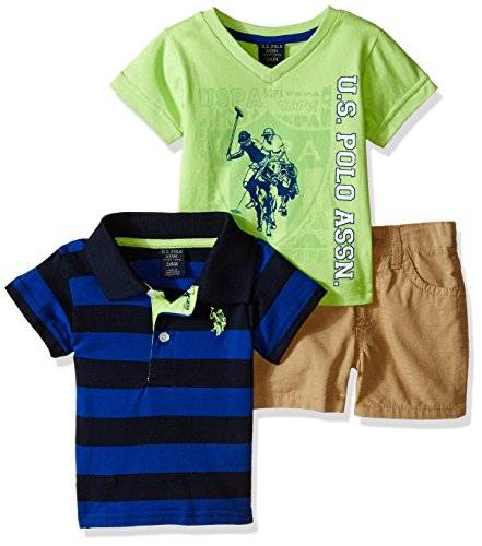 U.S.POLO ASSN. US Polo Association Baby Jungen (0-24 Monate) Bekleidungsset Gr. 6-9 Monate, neon green/khaki (Us Baby Polo)