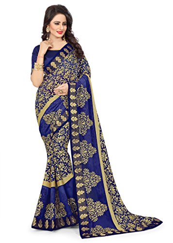 Oomph! Women's Printed Brasso Sarees - Admiral Blue
