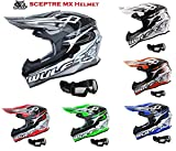 Nuovo Casco de Motocross -WULFSPORT SCEPTRE Adulti Casco Moto Scooter, off-road Enduro Cross Casco...