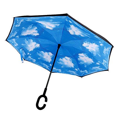 TONGWIN disegno creativo C tipo di manico Inverso Doppio Strato Ombrello forte anti-vento, anti-pioggia, anti-raggi ultravioletti(UPF50+) ideale per Viaggi e uso in auto (cielo blu)