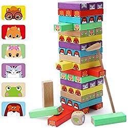 Lewo Bloques de Madera Coloridos Juegos de Tablero de apilamiento de Torre 54 Piezas para niños de 3 años en adelante