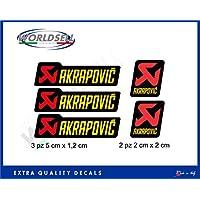 Akrapovic - Set de 5 pegatinas adhesivas para motocicletas