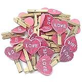 Wäscheklammern, 30 mm, 18 mm, rosa Herzen, Shabby-Chic, Vintage, für Hochzeit, 25