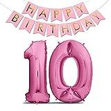 Zenball Luftballons Geburtstag XXL 101cm Pink Set mit Girlande - Riesen Folienballons in 40' Geburtstagsdeko Ideale Deko (Zahl 10)