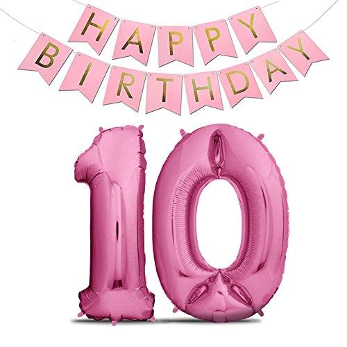 Rosa 10 (XXL Folien-Luftballons 10 Pink + Happy Birthday Girlande | Riesen Zahlen-Luftballons | 40