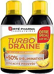TurboDraine Ananas | Complément Alimentaire à base de thé vert - Elimination et drainage | Lot de 2 x 500 ml