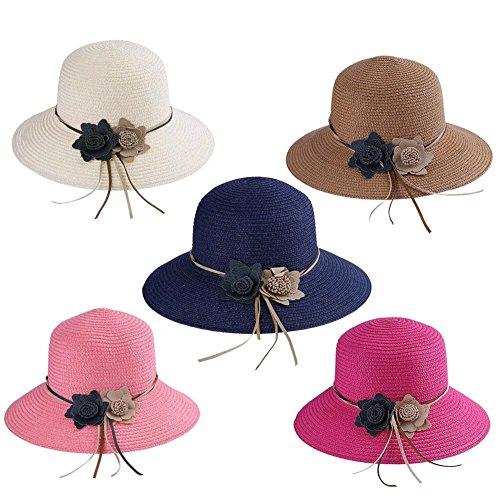 Everpert Vintage Summer Women Straw Flowers Sun Hat Casual Boater Beach Panama Hats