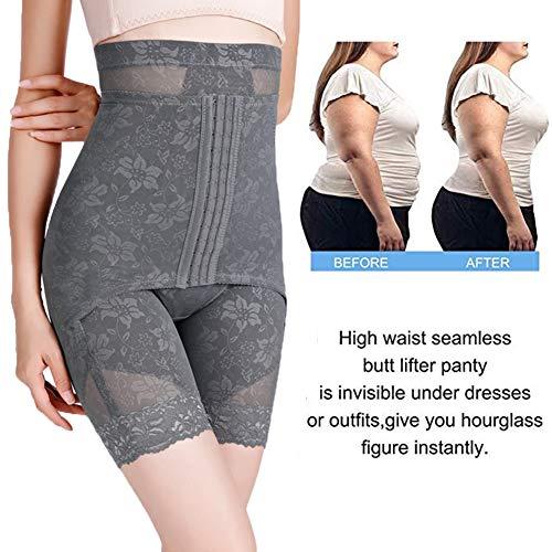 Damen Figurenformend Miederpants Einstellbar Miederhose Shapewear Bauch-Weg-Effekt Formt Sofort Nahtlose Body Shaper Mit Hoch Taille,Grau,M - 4