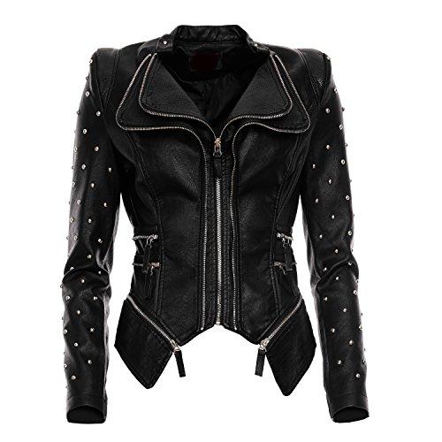 Mayaadi Damen Biker-Jacke stylische kurze Übergangsjacke in Leder-Optik WS-930 Schwarz S