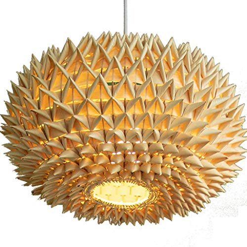 Solid wood table lamp Rattan Lampenschirm Restaurant Kronleuchter Bambus Kunst Bambus Balkon Licht lampenförmige Lampen, Gras Reben/Wicker, handgewebt #2 -