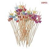 Manyo Zahnstocher, Bambus, für Partys, Schmetterling, 100 Stück