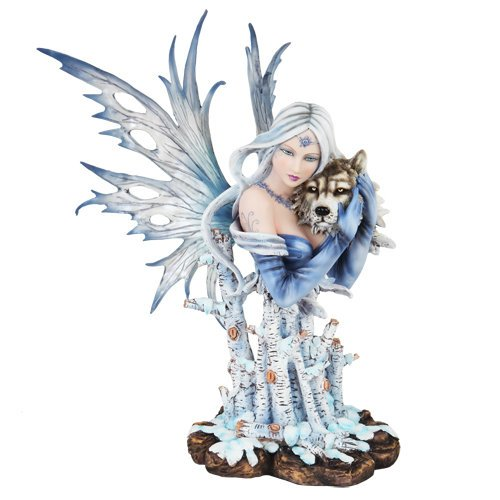 9998 Fairyland Winter Wonderland Fee mit Wolf Büste Statue Figur (Wolf Büste)